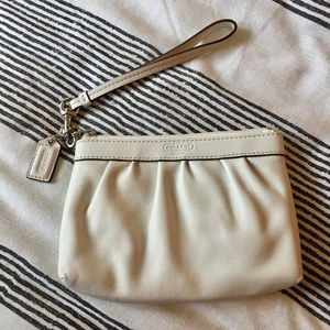 NWOT White Leather Coach Wristlet